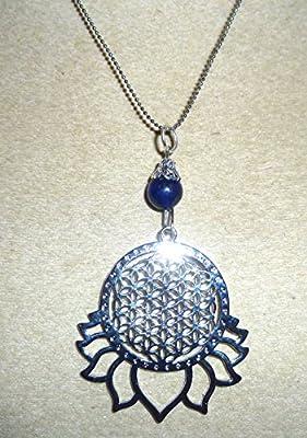 pendentif fleur de vie lotus lapis lazuli