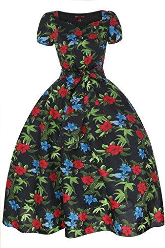 Femmes Années 1950 Encolure En Coeur Mancheron Vibrant Floral Rétro Vintage Robe Évasée Noir