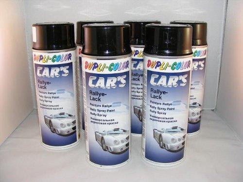 Dupli Color 385865 Car´s Rallye-Lack schwarz glänzend 6 Spraydosen á 400ml - Hochglanz Schwarz Lack