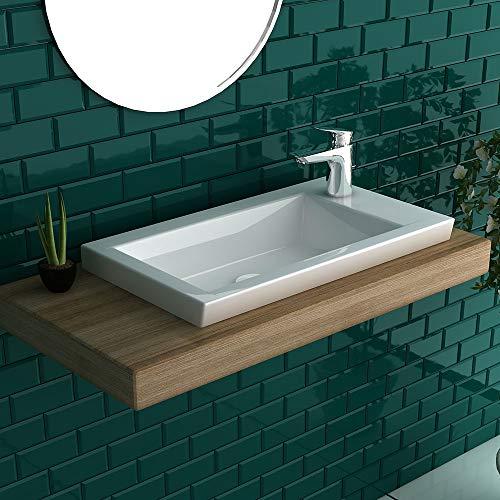 bad1a Alpenberger Design Handwaschbecken ohne Überlauf Keramik Waschbecken Waschtisch Wei
