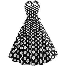 Malloom Robes de soirée Cocktail Style Halter années 50 à Pois Vintage  1950 s Audrey ... 54e040e2567b