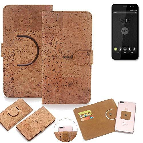 K-S-Trade Schutz Hülle für Shift Shift4 Handyhülle Kork Handy Tasche Korkhülle Schutzhülle Handytasche Wallet Case Walletcase Flip Cover Smartphone