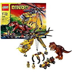 Lego Year 2012 DINO Series Set# 5886 : T-REX HUNTER with Helicopter, Scout Vehicle, T-Rex Dinosaur and 2 Hero Minigifures (Total Pieces: 480) by Dino