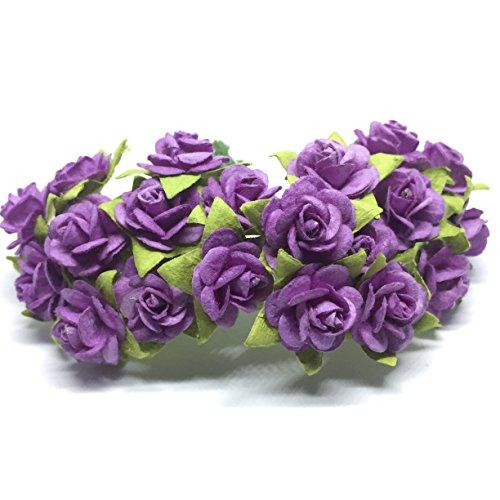 ALONG Entlang 100(Lila) Mulberry Papier Mini Rose Miniatur Craft DIY Tiny Tree Scrapbooking Hochzeit Puppe Haus Supplies Card -