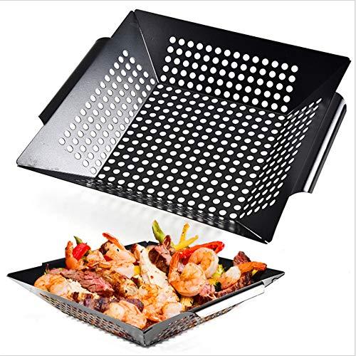 1PCS Edelstahl-BBBQ-Brichkett Heavy Duty Barbecue Pot mit Round Hole Non-Stick Wok Barbecue Durable in Handles-perfekt für das Kochen von Fisch, Fleisch und Gemüse - Handle Wok