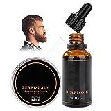 Semme Beard Kit de toilettage, ensemble de coiffage pour barbe portable Outil de soin des cheveux pour hommes avec des ciseaux de rognage(Balsamo per barba + olio per barba)