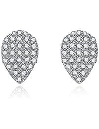 NYKKOLA hermosa joyería de plata de ley 925Circonita de cristal en forma de lágrima Stud Pendientes para las mujeres niñas regalo