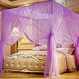 Jeteven Betthimmel Mückenschutz Insektennetz Bettvorhänge für Einzel- Doppelbetten,190 * 210 * 240cm Lila