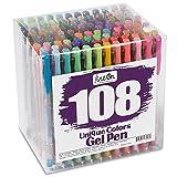 Lineon Gelstifte 108 Art von Farben Gelschreiber Set (Glitzer Neon Metallic) Gelroller Stifte Set Gel Pen Set für erwachsene Malbuch