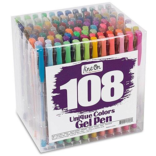 Lineon 108 Gel pen juego de gel pluma para Libros de Colorear para Adultos Marcadores de Arte
