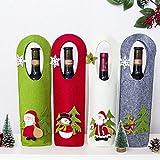 DAMENGXIANG (4 Teile/Satz) Weihnachten Weinflasche Tasche Filz Süßigkeiten Geschenk Taschen Bierflasche Abdeckung Jahr Weihnachten Dinner Party Dekoration