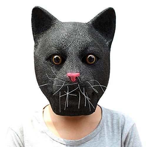 Lixinfushi Halloween-Vollgesichtsmaske Für Erwachsene, Schwarze Katze Kopf Latexmaske, Kostümparty Cosplay Niedlichen Tier Maske