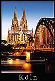 ComCard Köln Dom Beleuchtet Nachts brücke Schild aus Blech, metallsign, Tin