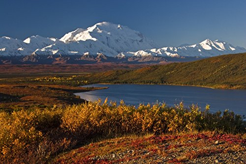 The Poster Corp Lynn Wegener/Design Pics – Scenic View of Mt. Mckinley and Wonder Lake Denali National Park Interior Alaska Autumn Photo Print (86,36 x 55,88 cm) -