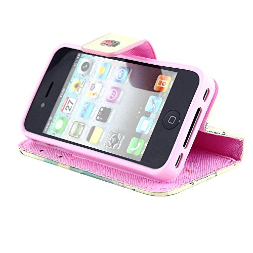 MOONCASE pour Apple iPhone 4 / 4S Case Cuir Housse de Protection Coque en Portefeuille Étui à rabat Case DKS19 DKS14 #1221