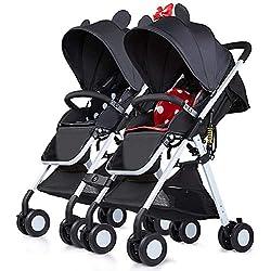 Saturey Cochecito de bebé en tándem, Cochecito Doble, Carrito Infantil con Respaldo Ajustable, reposapiés, Cinturones de Seguridad de 5 Puntos, Plegado Ligero,Red+Black