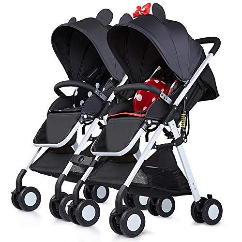 Saturey Geschwister Zwillings, Twin-Kinderwagen, Mit Verstellbarer Rückenlehne, Fußstütze, 5-Punkt-Sicherheitsgurten, Leichtes Zusammenklappen,Red+Black