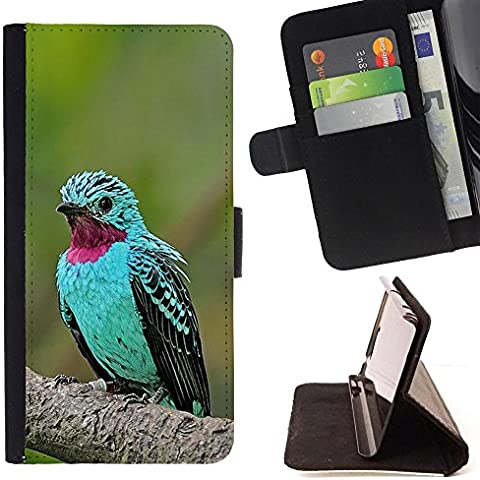 All Phone Most Case / Cellulare Smartphone cassa del cuoio della calotta di protezione di caso Custodia protettiva per LG X POWER // mint green bird tropical purple feather