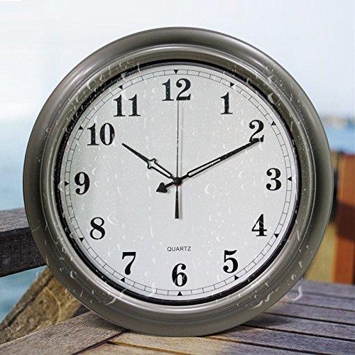 Y-Hui el reloj redondo grande Reloj de cuarzo Reloj de pared Piscina Salón Cocina Baño humedad impermeable en la tabla de 18 pulgadas (45,5 cm) de diámetro, impermeable reloj - Plástico plateado claro
