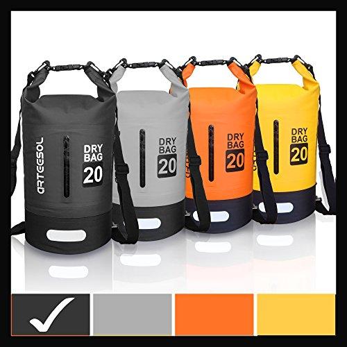 Blackace 5L 10L 20L 30LWaterproof trockener Beutel/Sack Wasserdichte Tasche mit Langem justierbarem Bügel für Kayaking Boots-Ausflug Kanu/Fischen / Rafting/Schwimmen / Snowboarding (Schwarz, 20L)