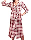 FANCYINN Frauen Checker Plaid Hemdkleid Tartan Hemd Lange Ärmel Tunika Oberteile Rot XL