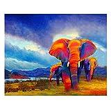 Gemalt von Zahlen, abstrakten Bildern, roten Elefanten bei Sonnenuntergang, Färbung durch Digitale Leinwandmalerei ohne Rahmen