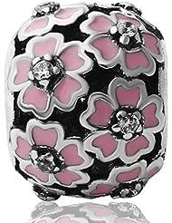 Hoobeads Plata de ley 925Primrose Meadow con circonitas de color rosa esmalte blanco para pulsera