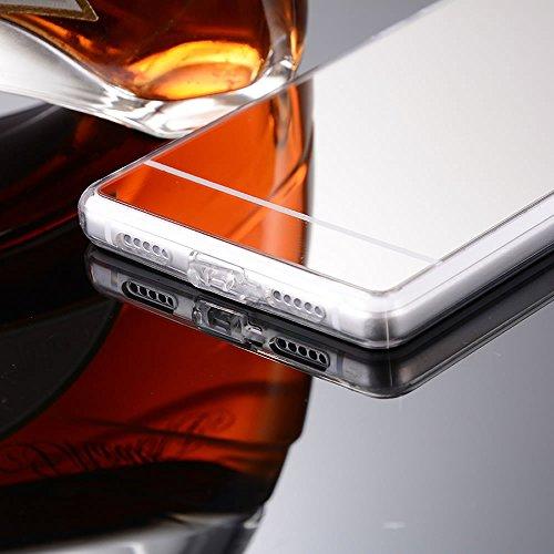 Sycode Custodia per iPhone 8 / 7,Specchio Case per iPhone 7,Moda Specchio Riflessione Custodia Cover Anti-Graffio Antiurto Morbida Gel Silicone Custodia Protettiva Bumper Ultra Sottile TPU Custodia Co Specchio,Argento