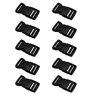 AUAUDATE 10pcs Safety Quick Plastic Black Strap Webbing Side Release Buckle Replacement 25mm