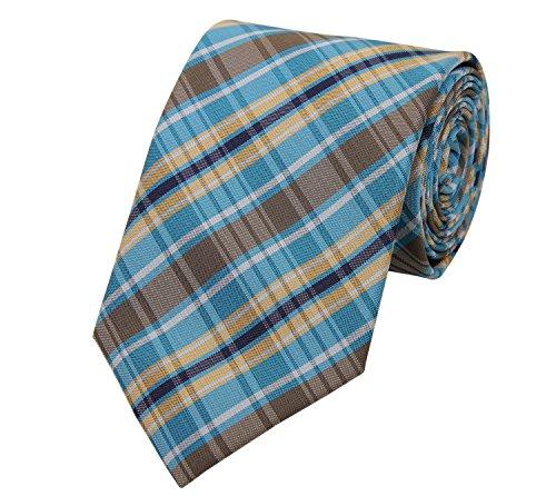 Fabio Farini Krawatte klassiche Breite mehrere Farben zur Auswahl (ohne Geschenkverpackung, türkis braun gelb)