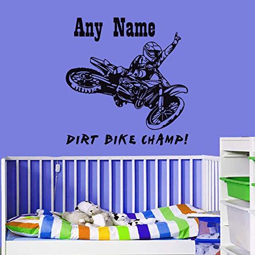 jiuyaomai Motorrad Wandaufkleber Dirt Bike Champ Personalisierte Name Abnehmbare Wandtattoo Vinyl Wandaufkleber Wohnkultur Wohnzimmer White 59X56 cm (White Tiger Wandtattoo)