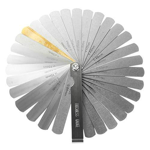 ✮LEBENSLANGE GARANTIE✮-CZ Store®- Fühlerlehre 32 Edelstahlblätter |Grösse 90 MM|doppelte mechanische Plättchen (Zoll und Metriken) für Motor / Zündkerze / Ventile / Musikinstrumente. -