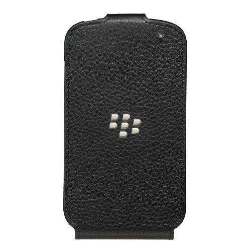 BlackBerry Leather Flip Shell Handyhülle/Case für BlackBerry Q10 - Schwarz