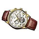 Segolike Luxury Men's Automatic Mechanical Business Wristwatch with Brown Genuine Leather B