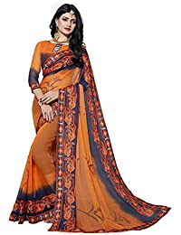 Culture Fab Chiffon Saree With Blouse Piece(1062_CL_Orange_Free Size)