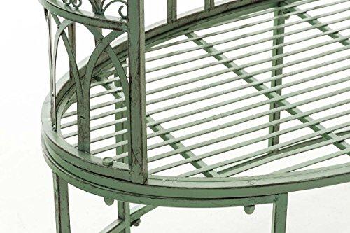 CLP Metall-Gartenbank AMANTI mit Armlehne, Landhaus-Stil, Eisen lackiert, Design antik nostalgisch, Form oval ca. 110 x 55 cm Antik Grün - 7
