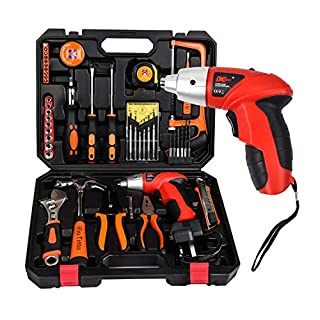 Tool Kit Home Set SUPSOO 45Pcs DIY Household Hand Tool Set with Electric Screwdrivers Claw Hammer Wrenches Pliers for Home Office Shed Garage Bike Car Electronics Test Repair