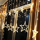 LED Lichterkette Star vorhang lichterkette,Innen- und Außen Deko Glühbirne,2.5m 138LEDs String Lichter Lights für Weihnachten Hochzeit Party Weihnachtsbaum Haushalt Garten weihnachten deko (Warmweiß)
