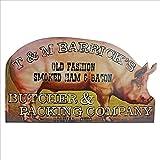 Design Toscano OW72929 Cochon Panneau Publicitaire Rétro Lard et Jambon, Multicolore, 1.5 x 40.5 x 23 cm