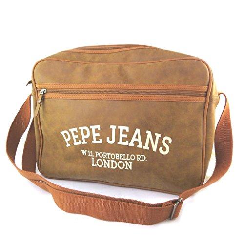 Pepe Jeans [N5840] - Sac bandoulière 'Pepe Jeans' marron vintage (format ordinateur) - 40x29x9 cm