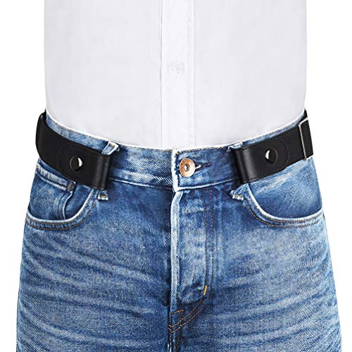 VBIGER Cinturón elástico invisible sin hebilla para hombres Ancho 1.4' Se ajusta a 30' -59' (A-Negro, 155cm)