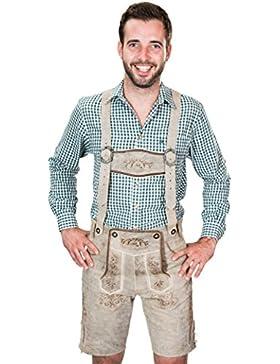 SYMPHONIE WESTERWALD Kurze antik look Bayerische Herren Trachten Lederhose mit Trägern, original in grau, Oktoberfest...