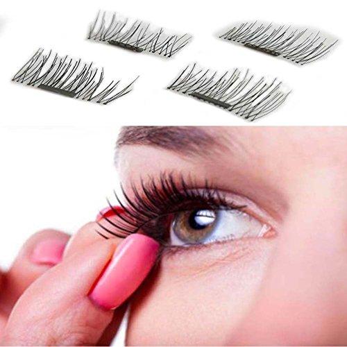 Rokoo 1 Paire / 4Pcs 3D Magnetic Faux Cils Appliqués Naturels Maquillage Beauté Outils Accessoires