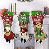 Yachee Weihnachten Strumpf, 3er Set Klassische Weihnachten Strumpf Geschenk Beutel, zum Befüllen und Aufhängen Nikolaus Schneemann Hirsch, Deko für Zuhause, Kaminsims, Weihnachten