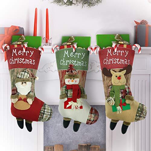VOIMAKAS Große Größe 3-er Set Weihnachtsstrumpf Beutel Nikolausstiefel 46cm Weihnachtssocke Nikolausstiefel zum Befüllen und Aufhängen Christmas Stocking
