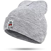 BLACK ELL Sombrero de niña, Sombrero de niño Gorras de Punto de Invierno Ojo Rojo Rick fumando Sombreros de EE. UU. Sombrero de Dama, Sombrero de Hombre Marca Bordado, 3