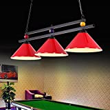 Metallkugel Design Billardtisch Billard Lampe für Spielzimmer Bier Party, Industrieller Kronleuchter mit 3 Lampenschirmen, Geeignet für Billardtische oder Kücheninsel, Shadowless (Farbe : Red)
