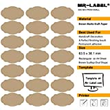 Mr-Label® marrón concha de peregrino oval Kraft etiquetas engomadas adhesivas -Self para la decoración de regalos | Manos artesanas | Finishing Touch (Tamaño: 63.5 * 38.1mm) (25 hojas / Totalmente 525pcs etiquetas)