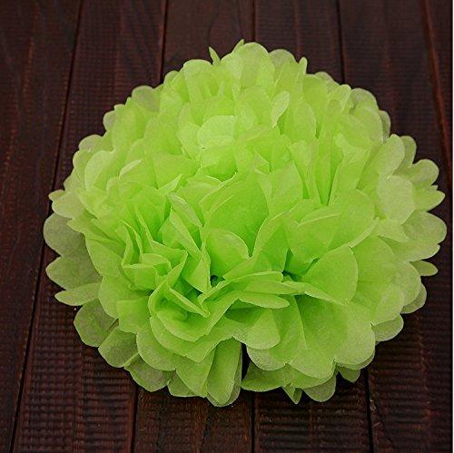 (FRE 10ST Pompons Seidenpapier Pom Pom Blumen Ball für Festival Hochzeit Geburtstag Party im freien Dekoration - grün)
