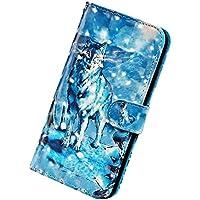 Herbests Funda Compatible con Samsung Galaxy Note 10 Plus - Carcasa Cartera de Cuero PU Flip Folio Carcasa Case Diseño Colores Funda Cierre Magnético y Soporte Plegable,Lobo